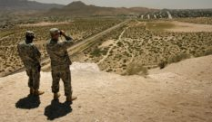 Transgender military ban: New Mexico National Guard officers near the US-Mexico border on June 26, 2007 in Sunland Park, New Mexico.
