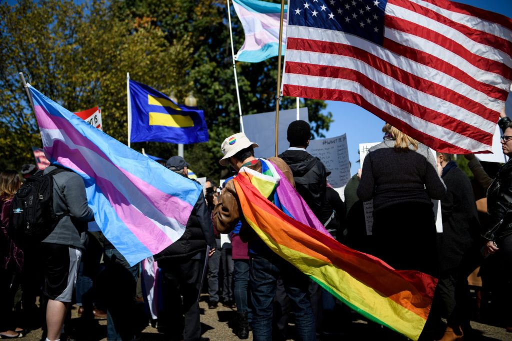 LGBT discrimination: Activists for the LGBTQ community rally during a protest of the Trump administration October 22, 2018 in Washington, DC.