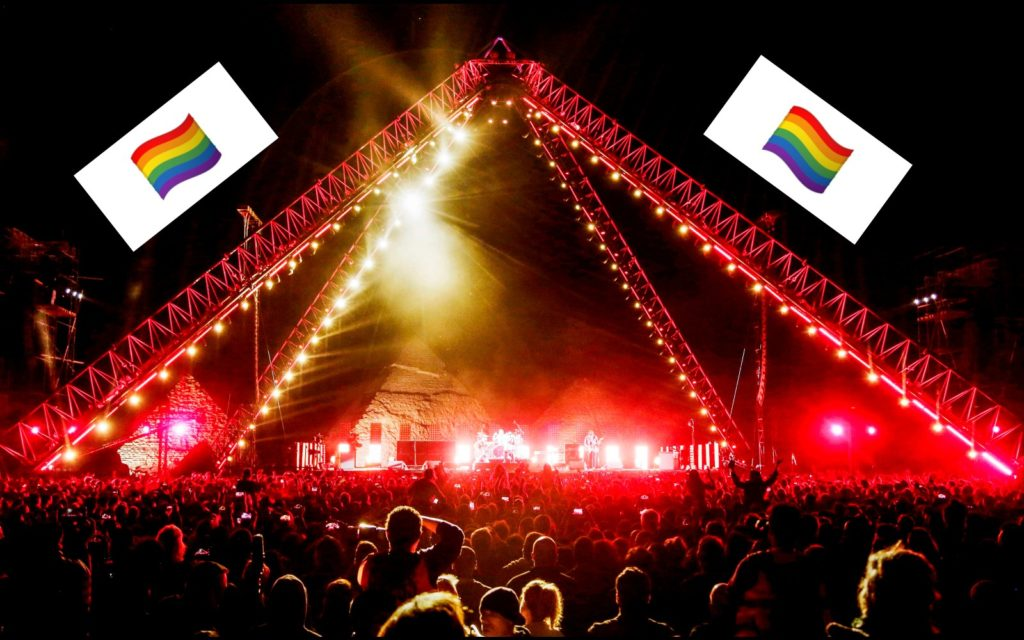 Police searched concertgoers for rainbow flags before allowing them to enter the Red Hot Chili Peppers concert