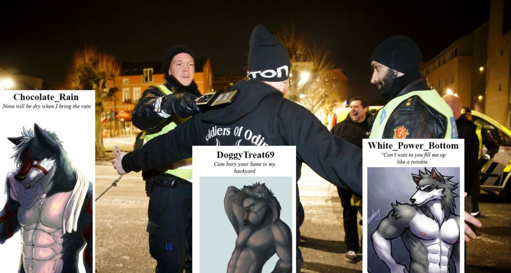 Wolves of Odin is a splinter group from Soldiers of Odin, a European white nationalist group pictures with police in Norway in 2016.