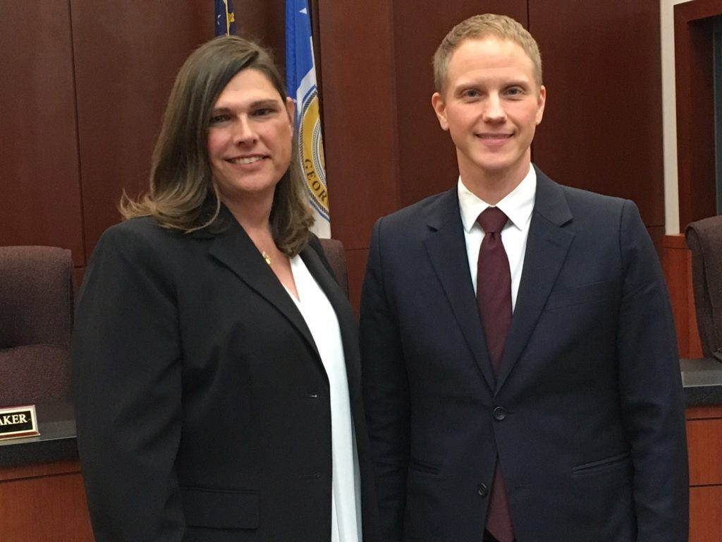 Transgender Houston County Sheriff's Sergeant Anna Lange and her attorney Noah Lewis.
