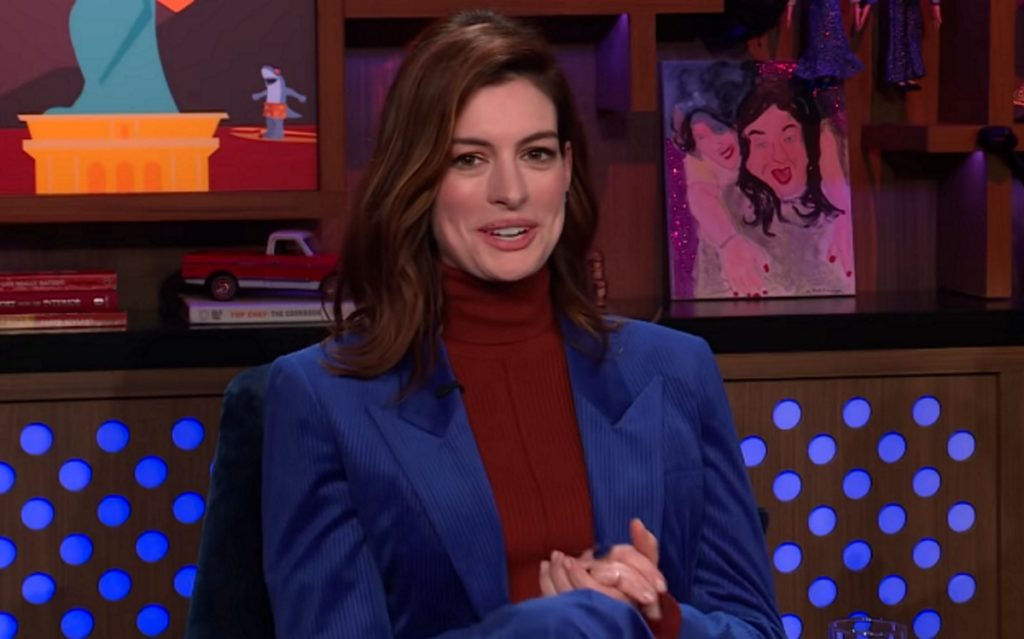 Anne Hathaway reveals the Princess Diaries news on Watch What Happens Live with Andy Cohen on January 24