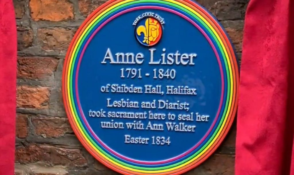 The new Anne Lister blue plaque, which was unveiled on February 28 2019.