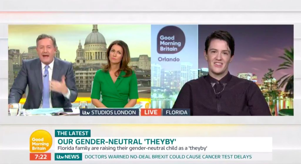 Non-binary parent Ari Dennis called Piers Morgan a childist while discussing their gender-open approach to parenting.