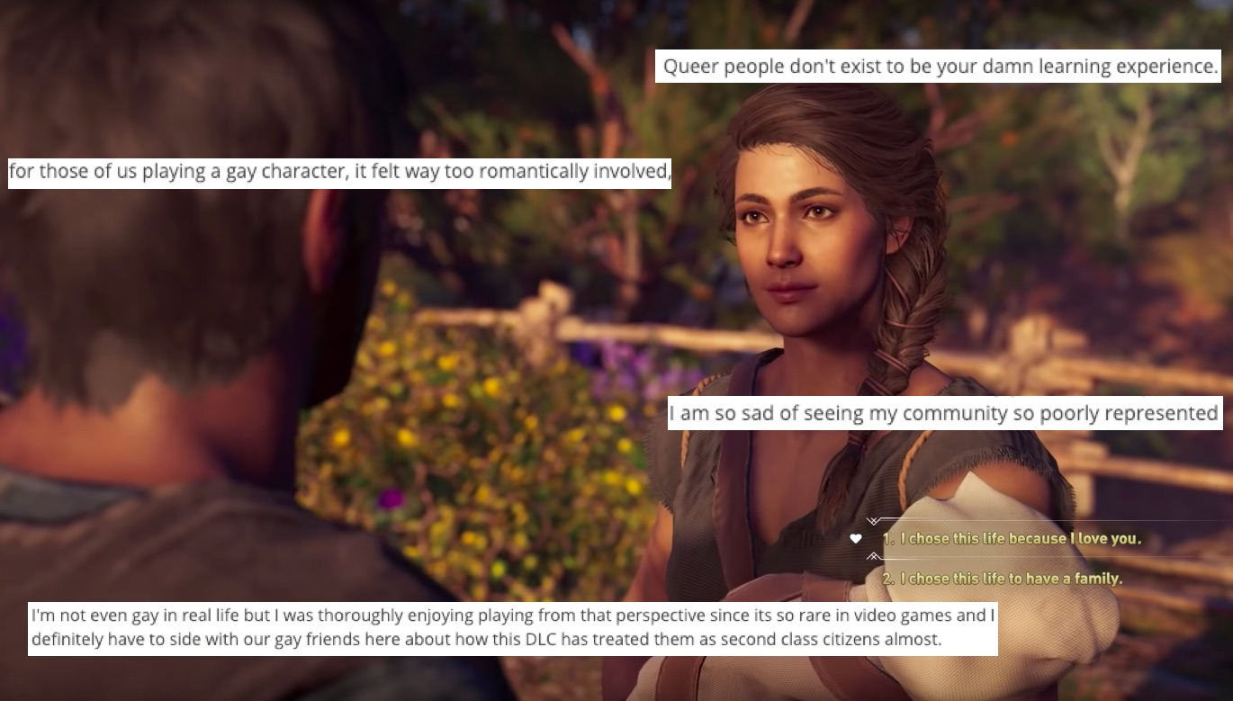 Assassin's Creed Odyssey forces player's characters to have a heterosexual relationship.