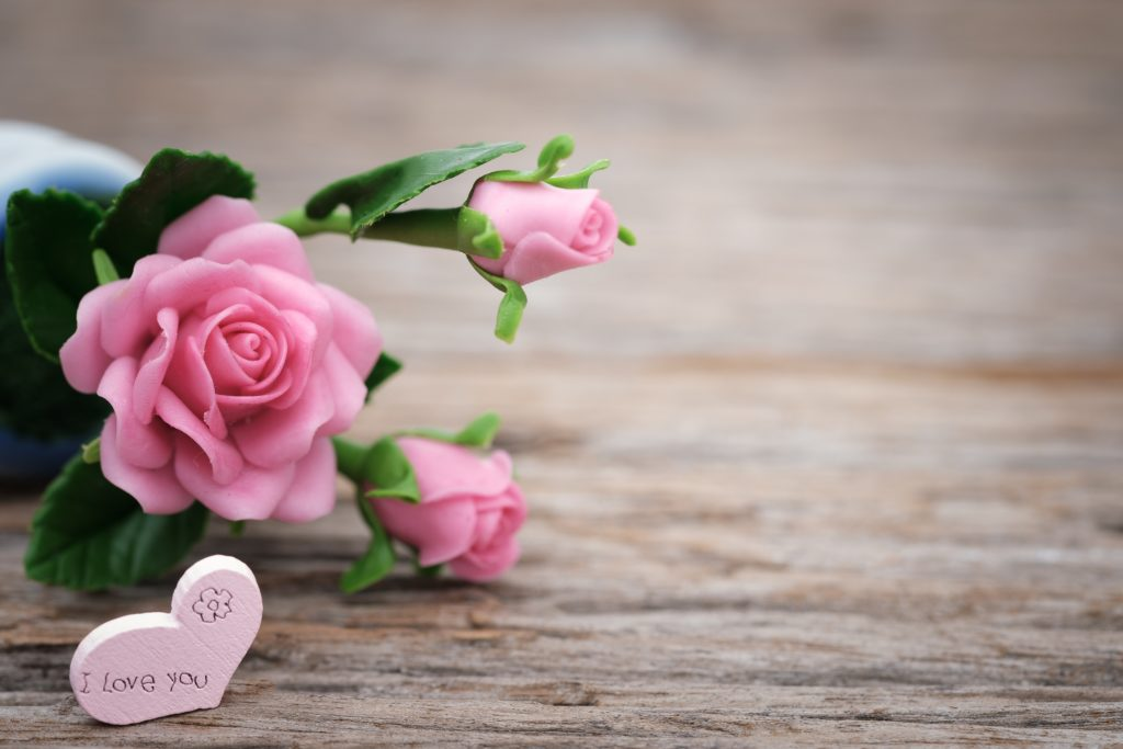 Valentine's Day gifts. Pink rose and heart that says I love you. Valentines Day
