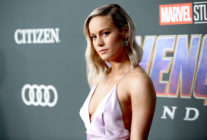 Brie Larson in a purple dress