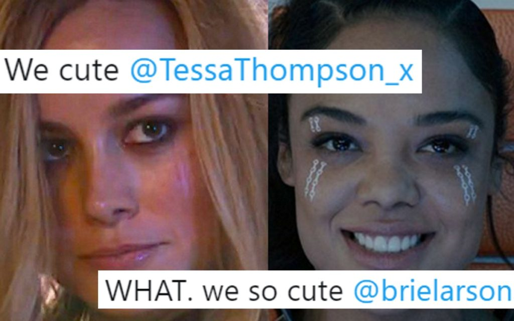 Photos of Brie Larson and Tessa Thompson, overlaid with tweets from the pair.