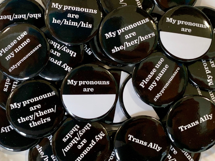 word of the decade 'My pronouns are...' badges