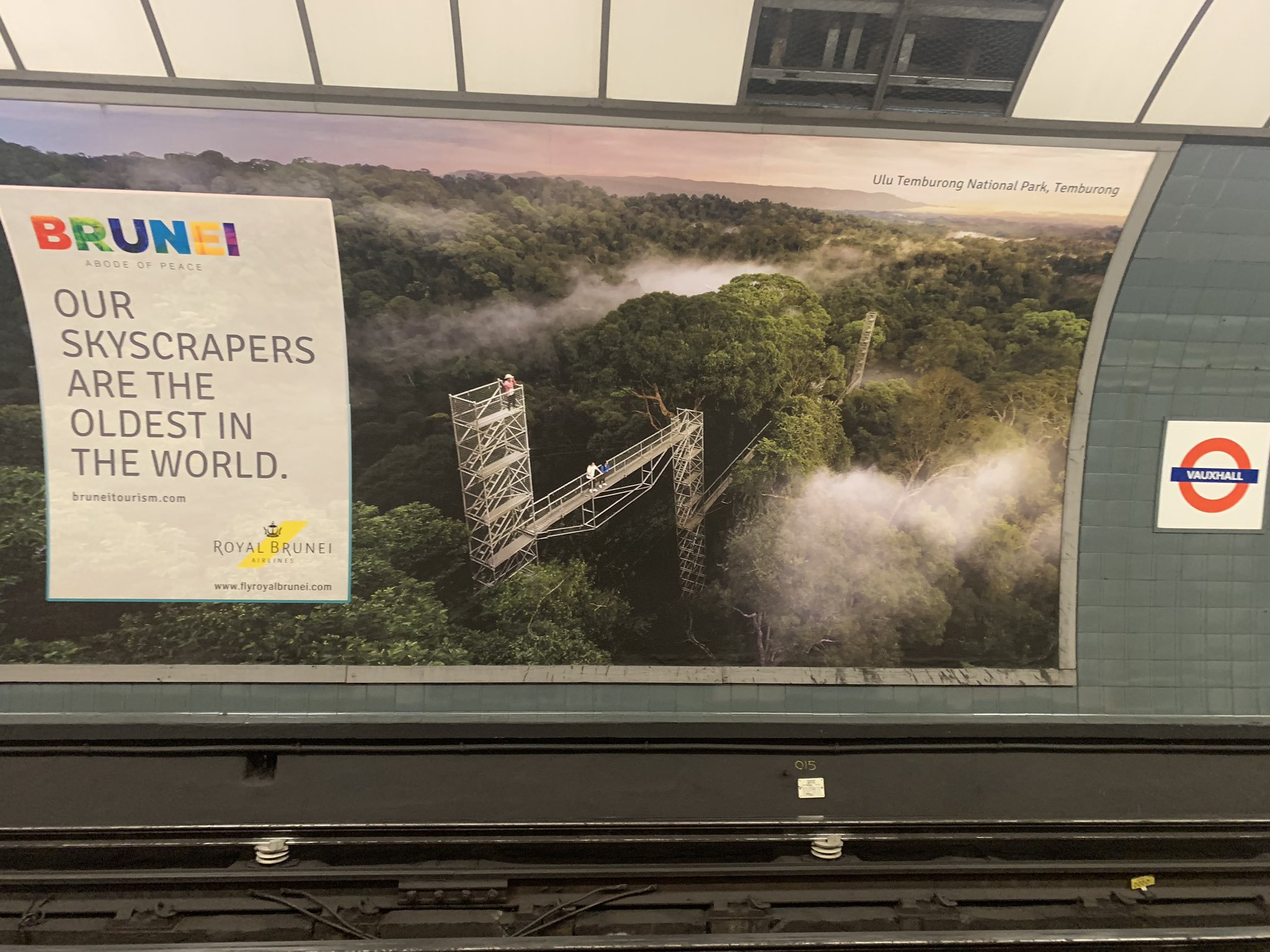 An advert promoting Brunei seen at the TfL station in Vauxhall, London.