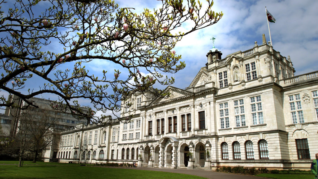 The front of the Cardiff University building