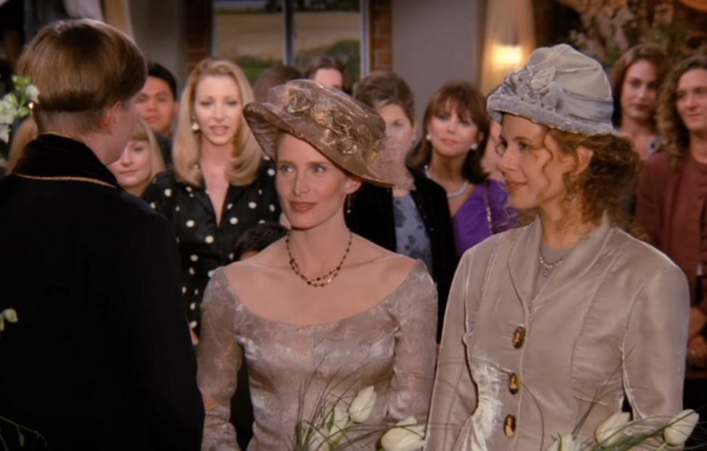"A screenshot from the Friends episode ""The One with the Lesbian Wedding"""