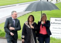 Conor Murphy, Mary Lou McDonald and Michelle O'Neill smiling