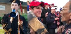 L - Gay valedictorian Christian Bales gives a speech after being barred from the official graduation ceremony at his school, run by the Diocese of Covington. R - Nick Sandmann confronts Native American Nathan Phillips
