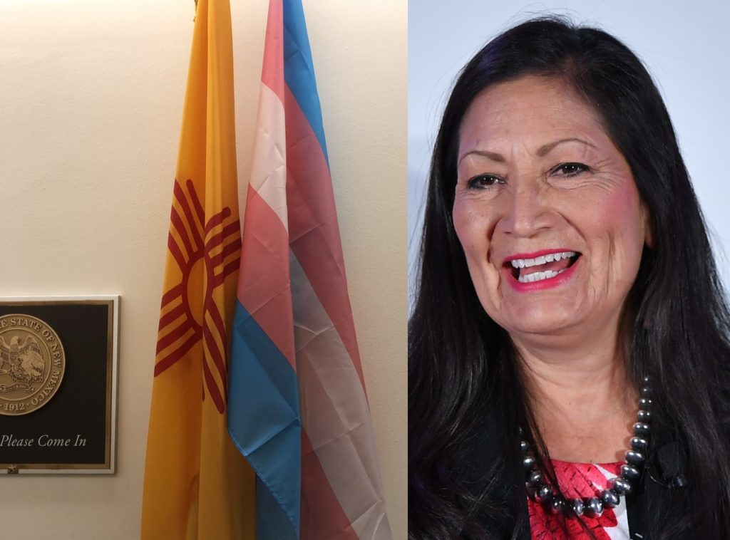 A picture of the trans flag and New Mexico flag next to a photo of congresswoman Deb Haaland