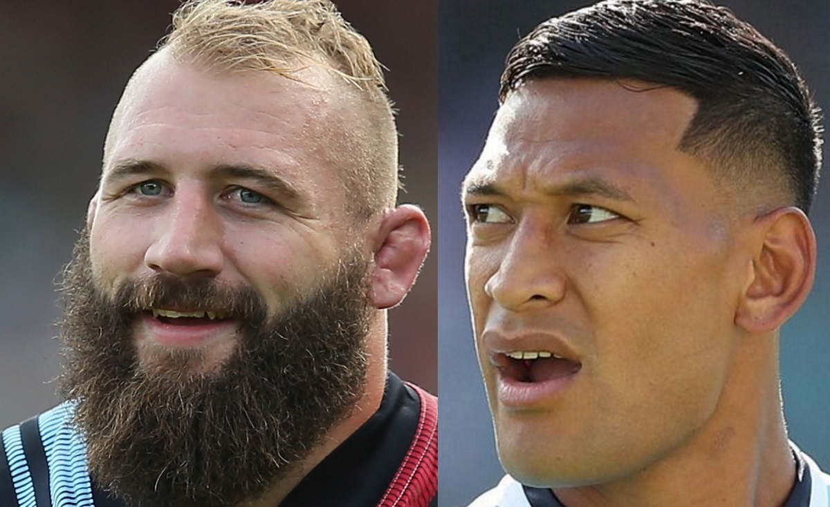 Rugby stars Joe Marler of Harlequins and Australian player Israel Folau.