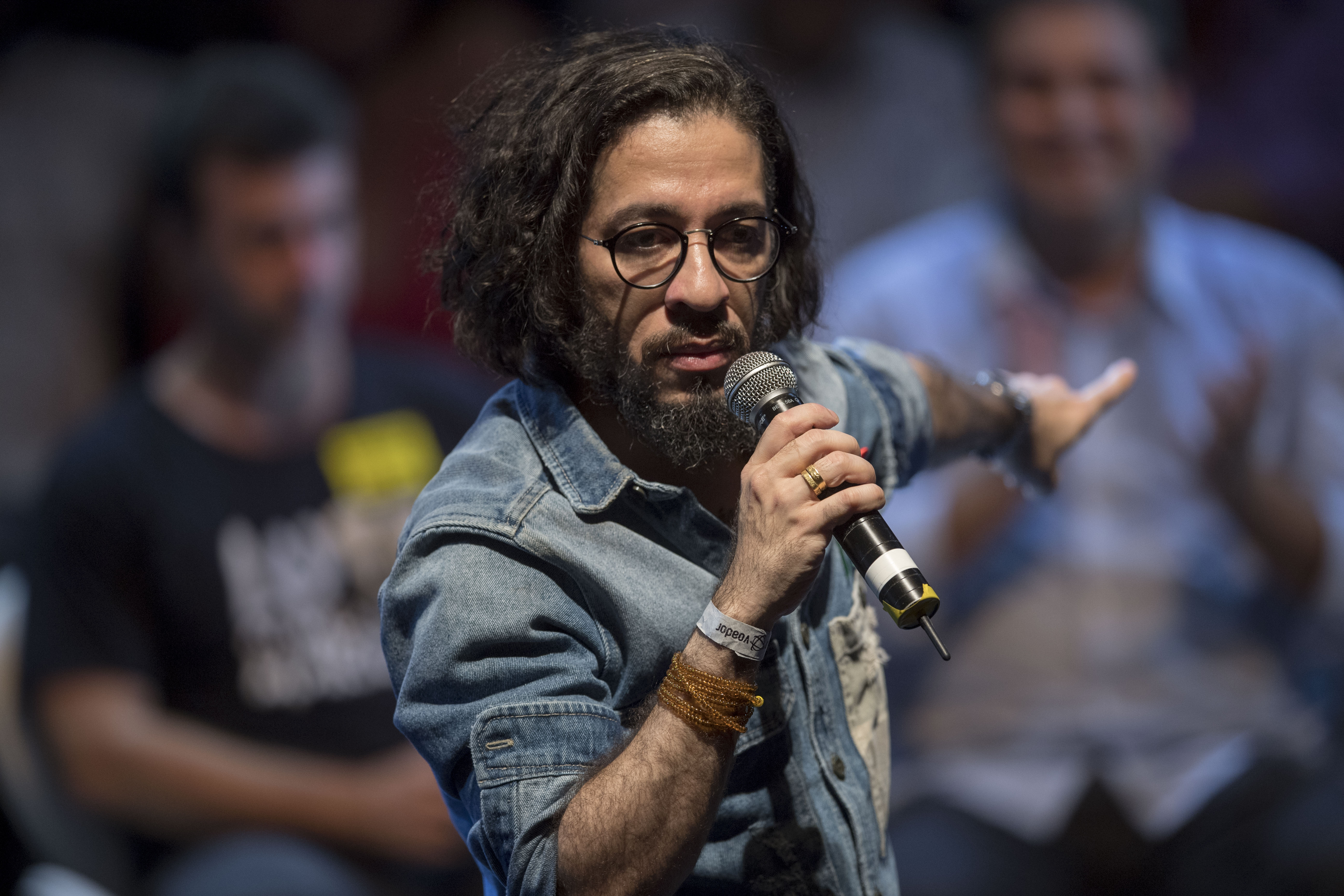Jean Wyllys, Rio de Janeiro federal deputy for the Socialism and Liberty Party (PSOL) speaks during a rally of Brazilian leftist parties at Circo Voador in Rio de Janeiro, Brazil, on April 02, 2018
