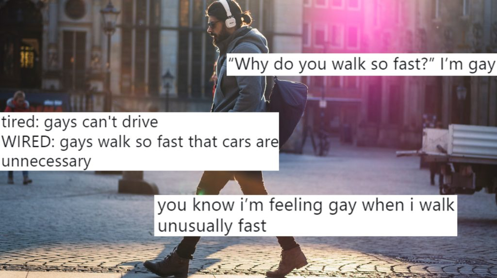 A gay man walks fast down a street, overlaid with tweets.