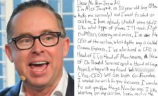 Qantas CEO Alan Joyce speaks at the AO Inspirational series brunch on day 11 of the 2018 Australian Open at Melbourne Park on January 23, 2018 in Melbourne, Australia, next a to a letter to Alan Joyce from 10-year-old Alex Jacquot.