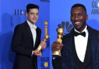 Best Actor in a Motion Picture Drama for 'Bohemian Rhapsody' winner Rami Malek (L) and Best Actor in a Supporting Role in any Motion Picture for 'The Green Book' winner Mahershala Ali (R).