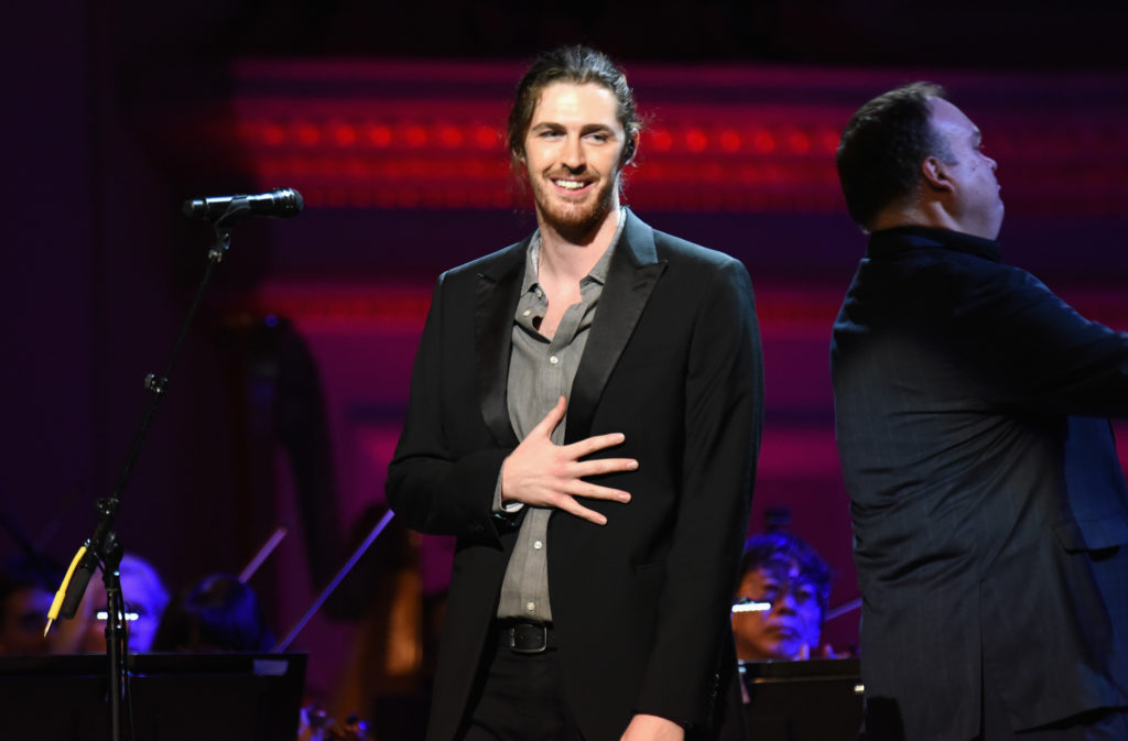 Musician Hozier performs onstage during the ONE Campaign and (RED)'s concert to mark World AIDS Day, celebrate the incredible progress that?s been made in the fights against extreme poverty and HIV/AIDS, and to honour the extraordinary leaders, dedicated activists, and passionate partners who have made that progress possible. At Carnegie Hall on December 1, 2015 in New York City.
