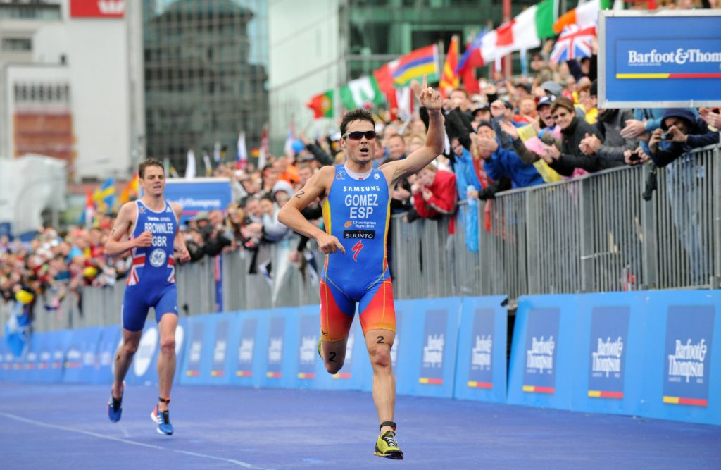 In a release from the International Triathlon Union, Javier Gomez of Spain wins, in front of Jonathan Brownlee of Great Britain, the Grand Final of the 2012 ITU World Triathlon Series on October 21, 2012 in Auckland, New Zealand.