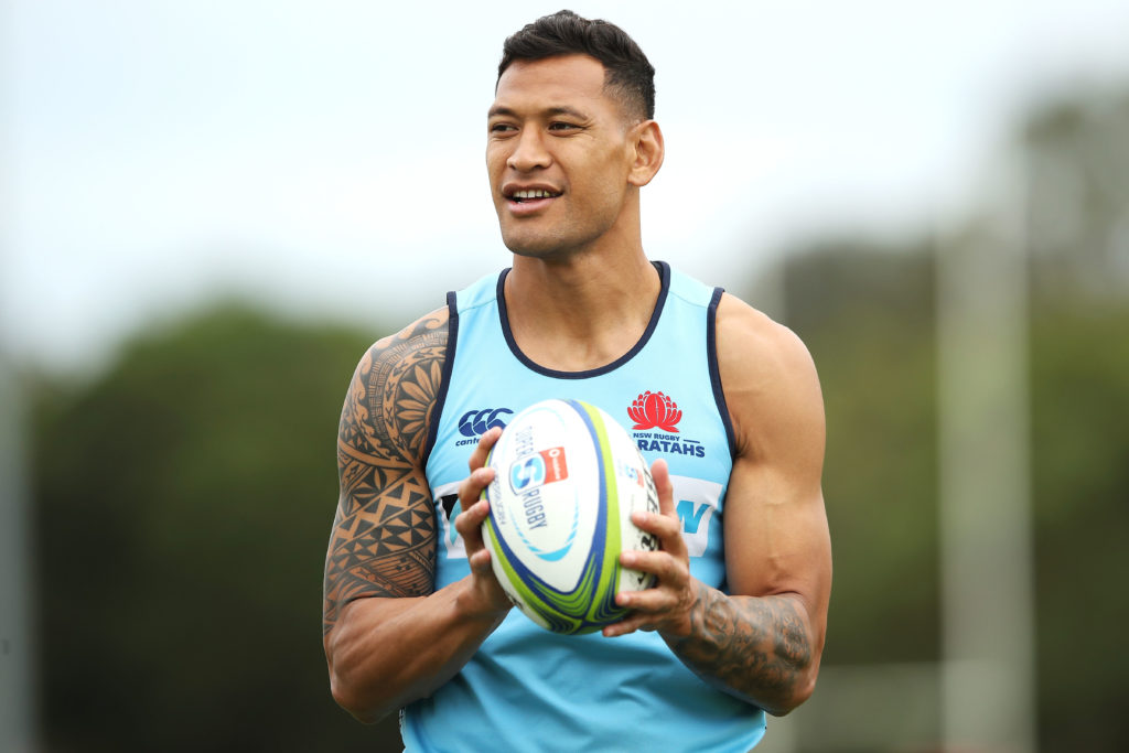Israel Folau watches on during a Waratahs Super Rugby training session at David Phillips Sports Complex on March 25, 2019 in Sydney, Australia.