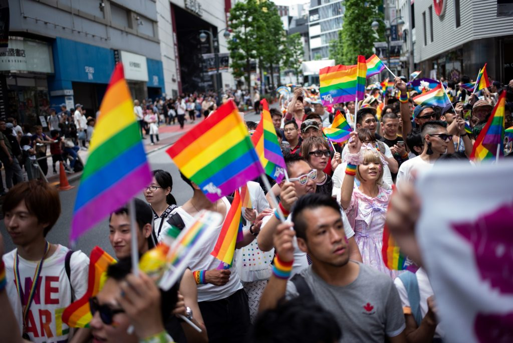 People in Japan attend the annual Tokyo Rainbow Parade in Tokyo, on May 6, 2018, to show support for lesbian, gay, bisexual and transgender people