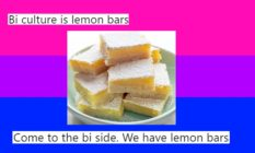 Bisexual lemon bars: A picture of lemon bars set against the bisexual flag and tweets.