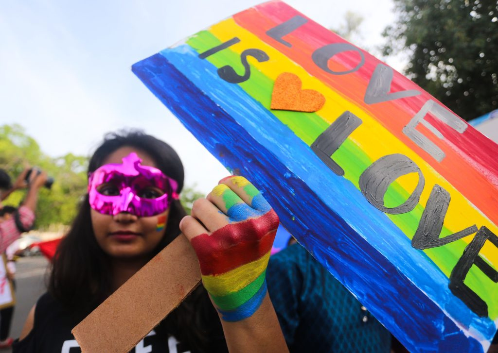 A supporter of the lesbian, gay, bisexual, transgender (LGBT) community takes part in a pride parade in Bhopal, India on July 15, 2018. Indian lesbian.