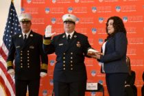 Lillian Bonsignore being sworn in as FDNY's EMS chief.