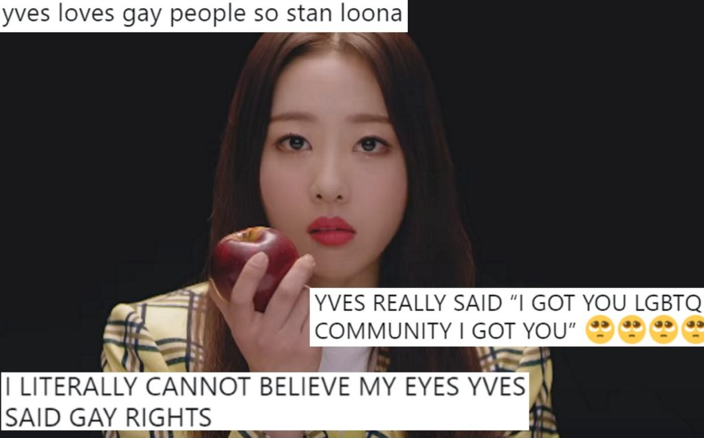 A screenshot of Loona member Yves eating an apple with tweets overlaid.