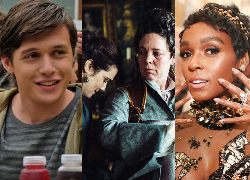 Stills from GLAAD nominees The Favourite and Love, Simon, next to a photo of US singer Janelle Monae