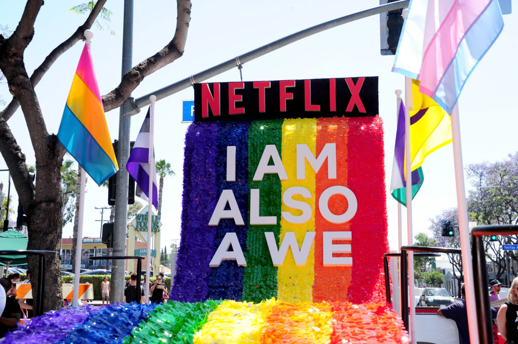 Netflix, which is making OBX, sent floats to the Los Angeles Pride Parade on June 10, 2018 in West Hollywood, California