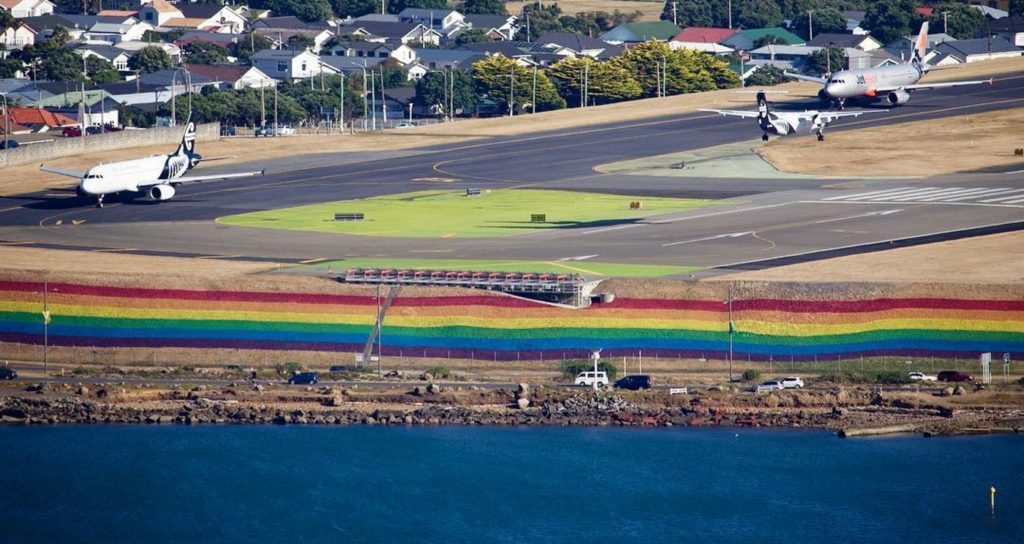 An Instagram photo from Wellington Airport of the gigantic rainbow painted ahead of the Wellington Pride Festival