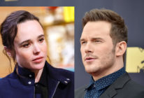 "A combo photo of Chris Pratt and Ellen Page, who has held the Lego Movie actor to account for attending a church that she described as ""infamously anti-lgbt."""