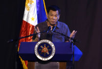 President Rodrigo Duterte speaks at the 39th birthday party of Boxer Manny Pacquiao at KCC convention center on December 17, 2017 in General Santos, Philippines.