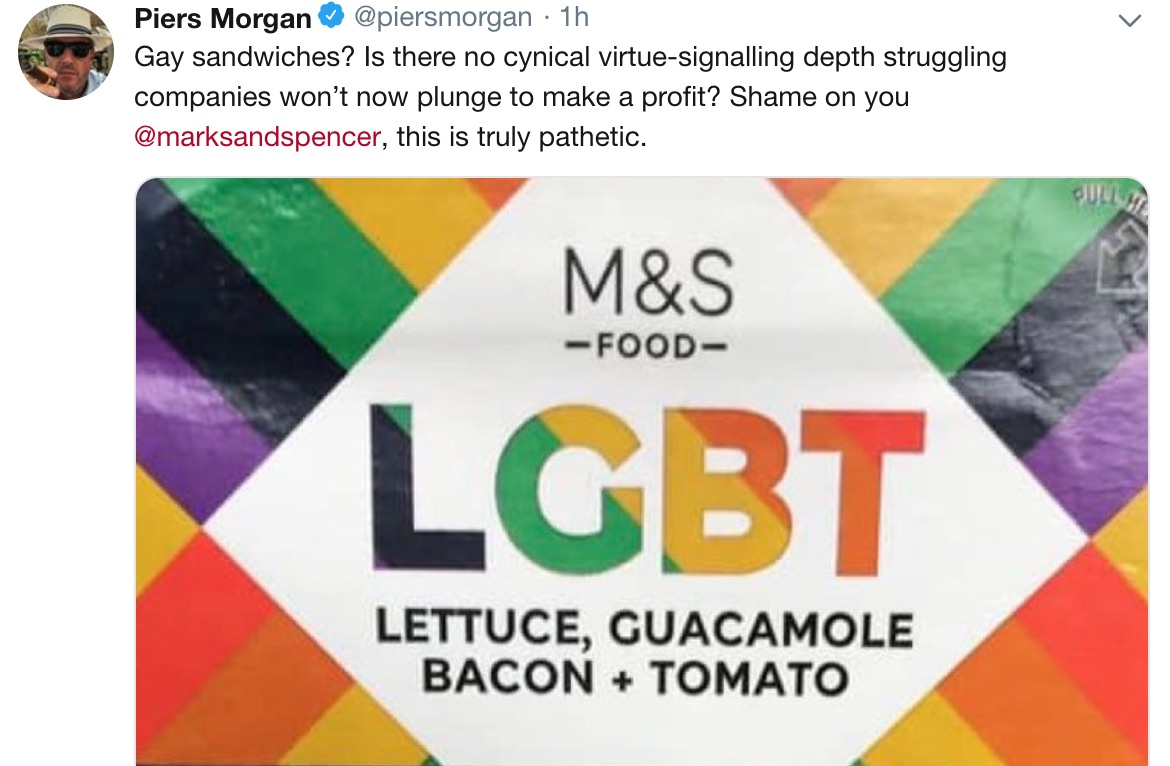 Piers Morgan expresses outrage at M&S LGBT Sandwich.