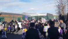 Protestors against LGBT lessons outside Anderton Park Primary school, Birmingham