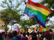 Malaysia A LGBT pride flag flies at the women's march in Malaysia on March 9.