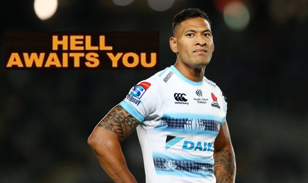 Israel Folau of the Waratahs looks on during the round 8 Super Rugby match between the Blues and Waratahs at Eden Park on April 06, 2019 in Auckland, New Zealand.
