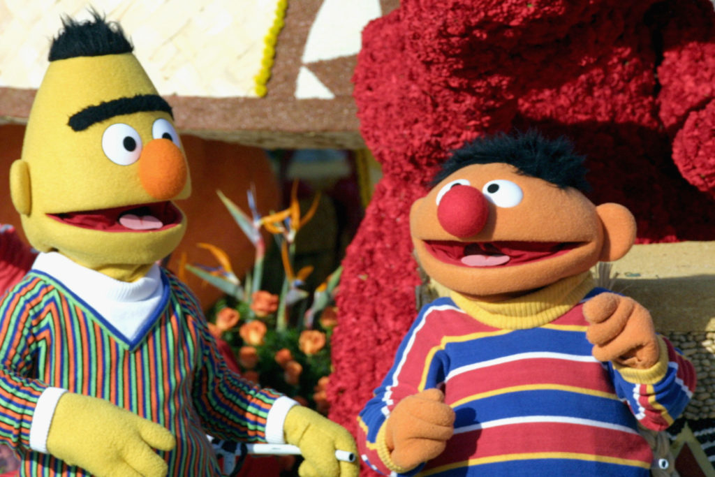 "Sesame Street characters Bert and Ernie, who are said by many to be gay, ride the ""Music Makes us Family"" float in the 116th Tournament Of Roses Parade on January 1, 2005"