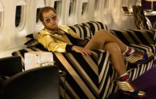 Taron Egerton acting as Sir Elton John in biopic Rocketman.