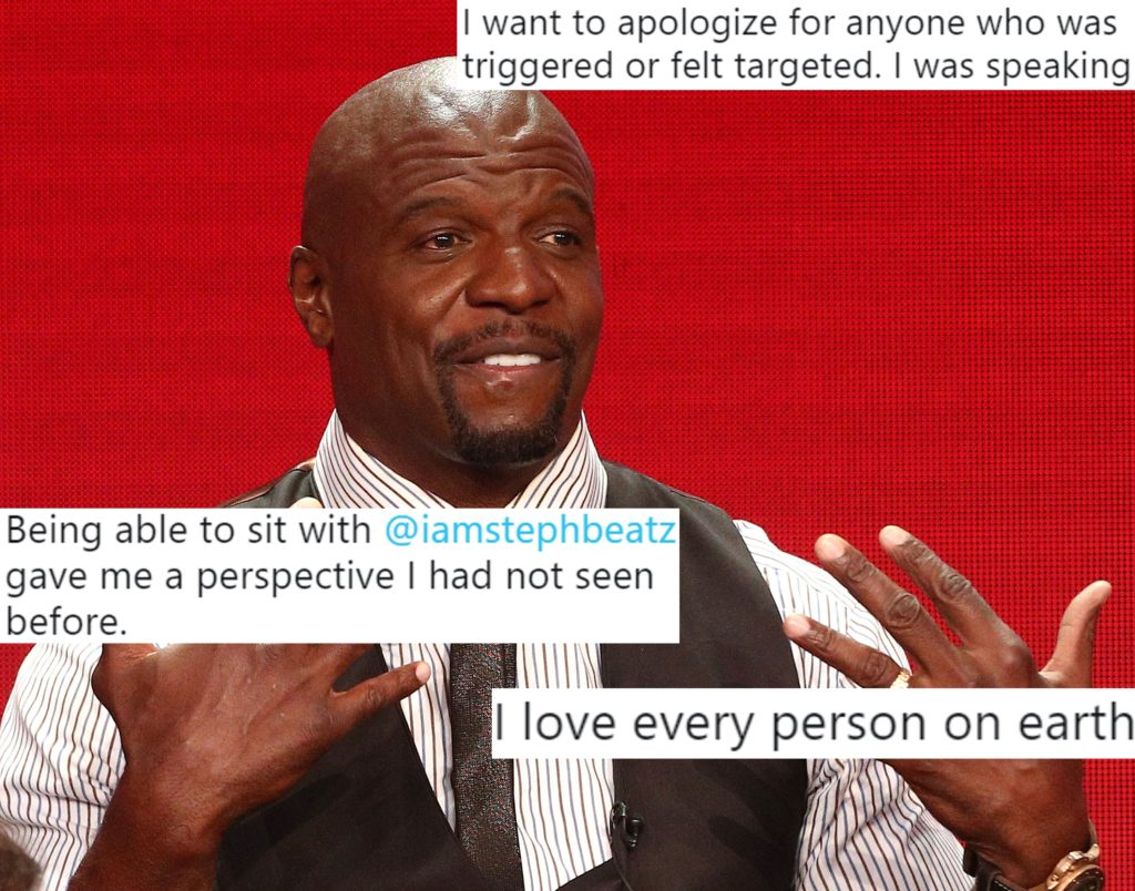 A picture of actor Terry Crews of the television show 'Brooklyn Nine-Nine' speaking during the NBC segment of the Television Critics Association Press Tour at the Beverly Hilton Hotel on August 8, 2018 in Beverly Hills, California, overlaid with tweets.
