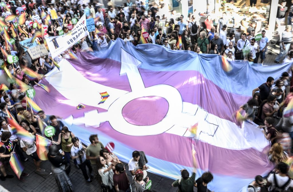 People hold a giant transgender flag during a Turkish Trans Pride parade.