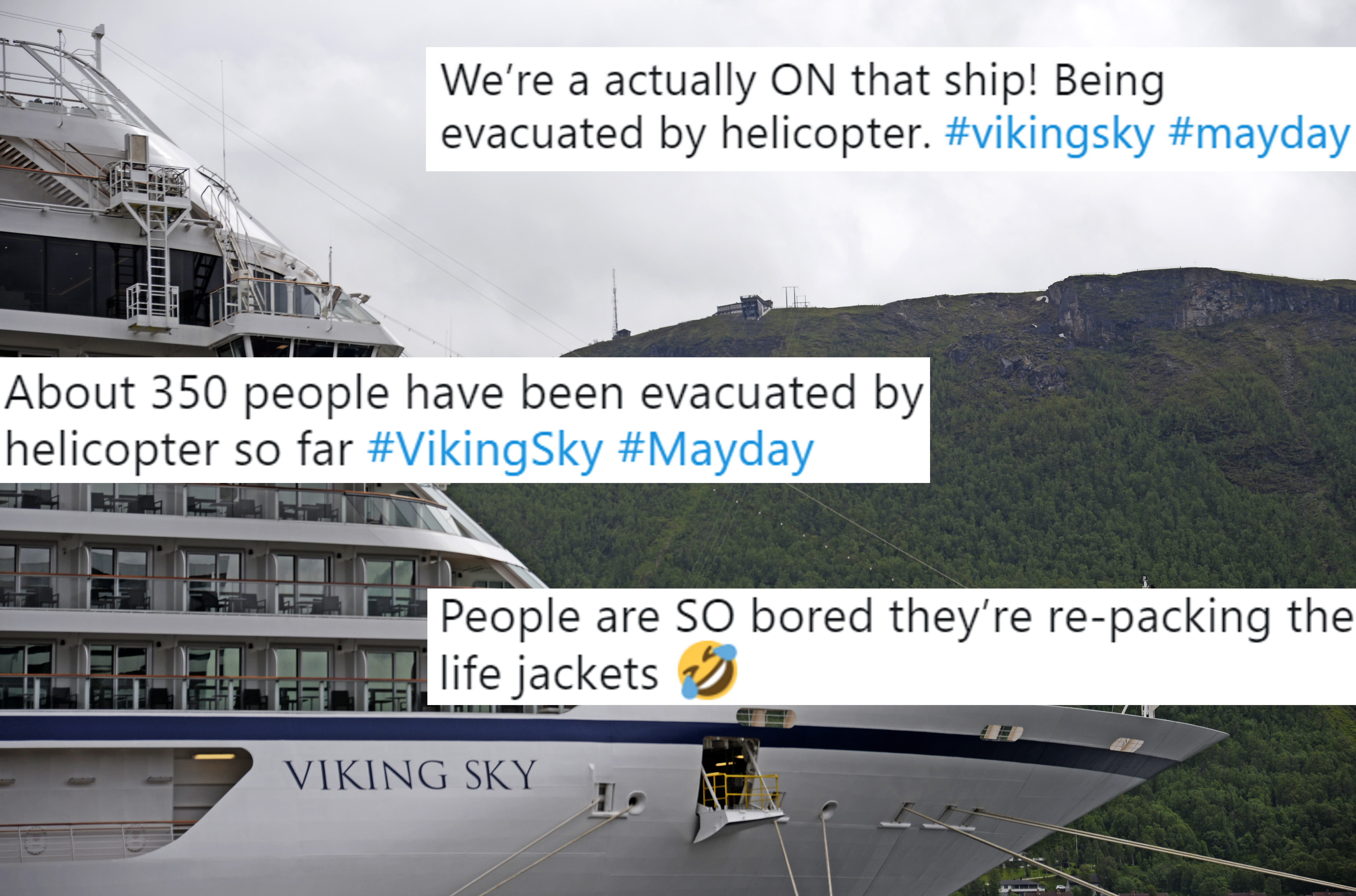 This picture taken on June 28, 2018 shows the cruise ship Viking Sky near Tromso, Norway. - Emergency services said on March 23, 2019 they were airlifting 1,300 passengers off a cruise ship off the Norwegian coast. The Viking Sky cruise ship sent an SOS message due to 'engine problems in bad weather', southern Norway's rescue centre said on Twitter, while police reported the passengers would be evacuated by helicopter. The photo is overlaid with tweets.