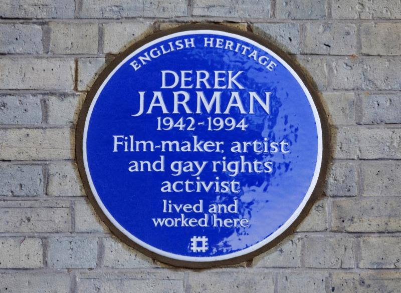 The blue plaque remembering Derek Jarman on the 25th anniversary of his death from HIV.