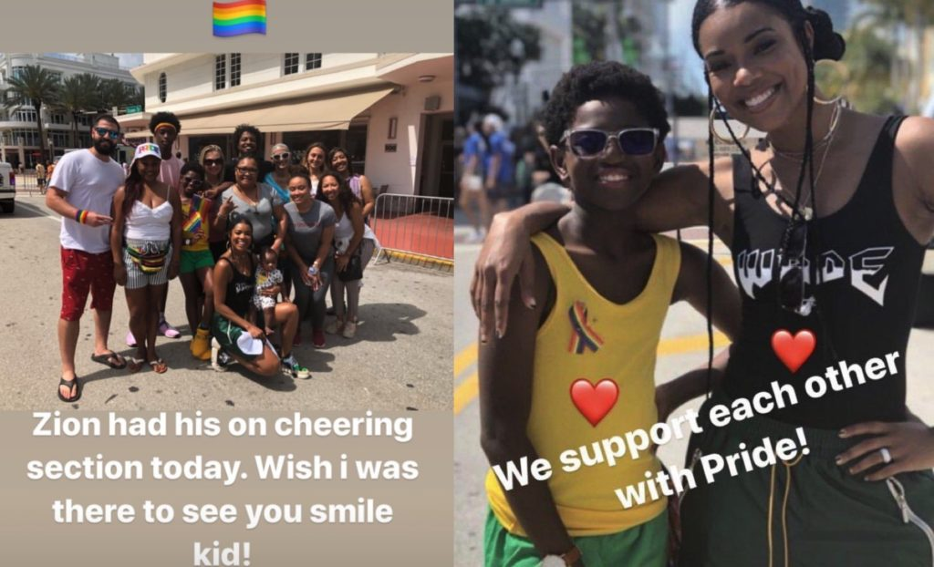 NBA star Dwyane Wade showed support for his son, who attended Miami Pride with his stepmother Gabrielle Union and his family.