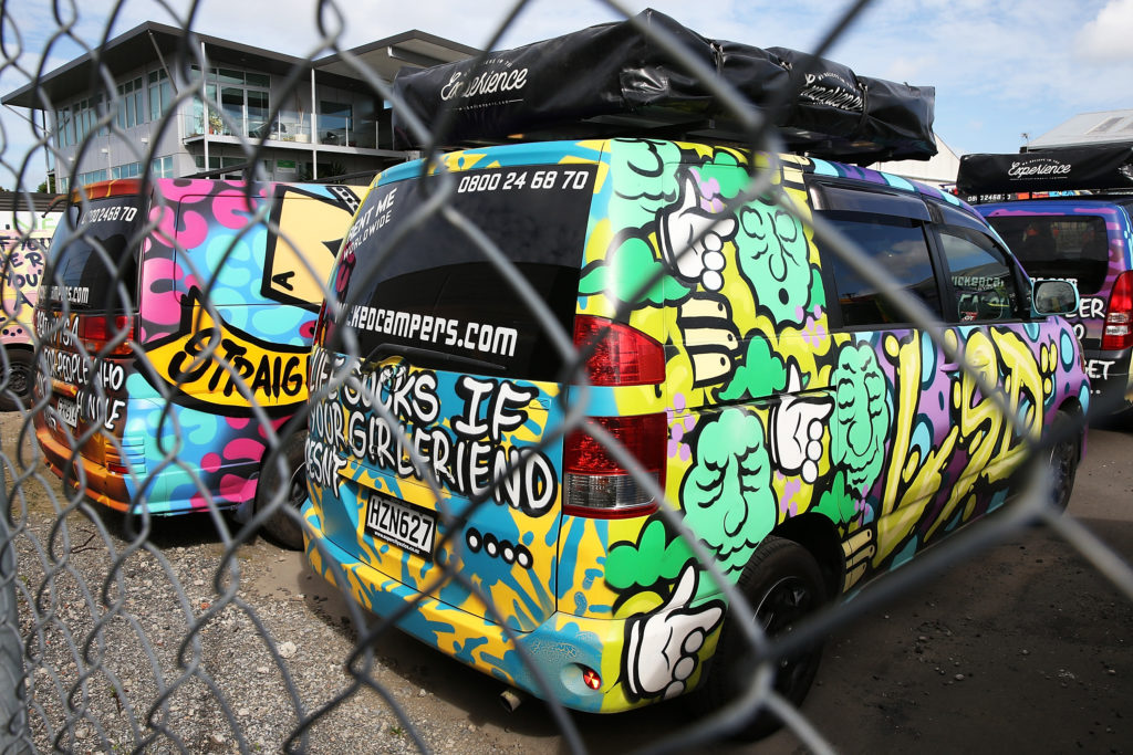 An advert featured on a Wicked Campers van has been banned for its transphobic and misogynistic message. (Fiona Goodall/Getty Images)