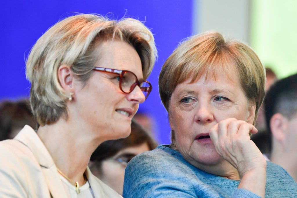 German Minister for Education Anja Karliczek with German Chancellor Angela Merkel